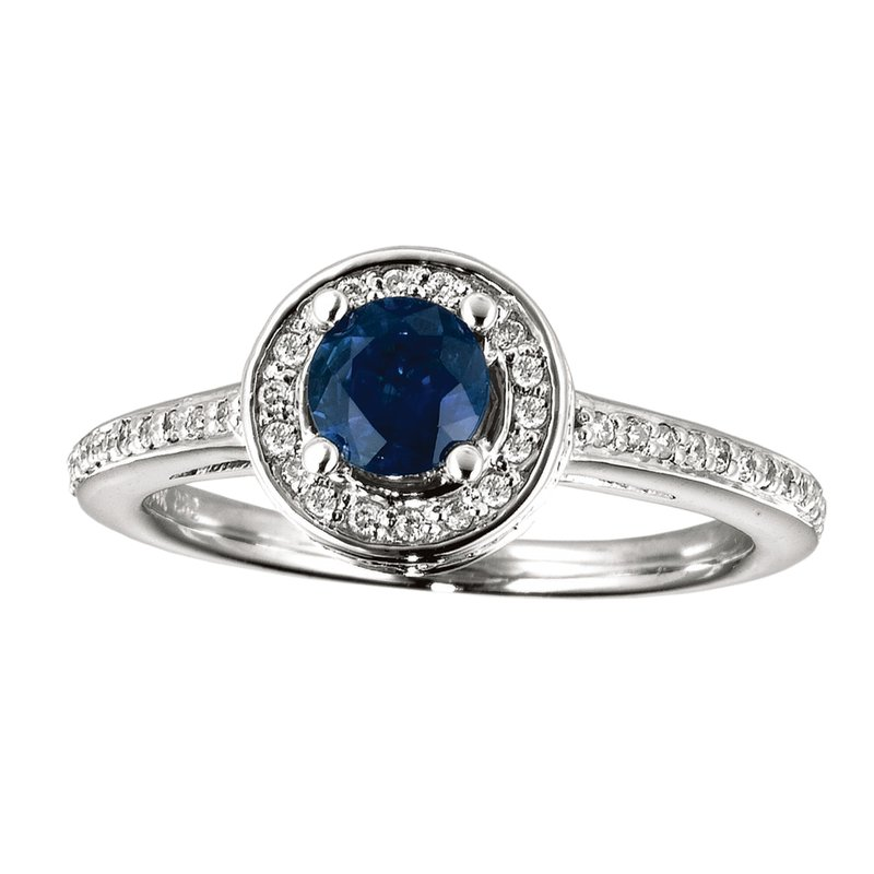 Color Merchants 14k White Gold Sapphire and Diamond Double Circle Ring