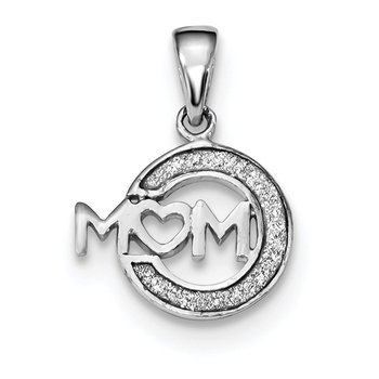 Sterling Silver Rhodium-plated Enamel Glitter Fabric MOM Pendant