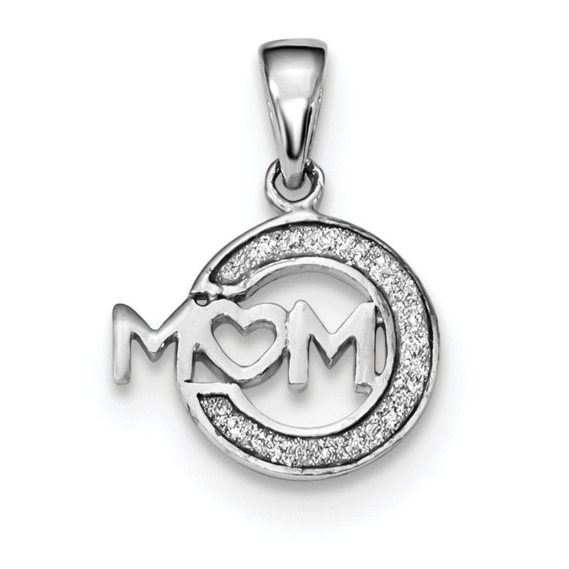 Quality Gold Sterling Silver Rhodium-plated Enamel Glitter Fabric MOM Pendant