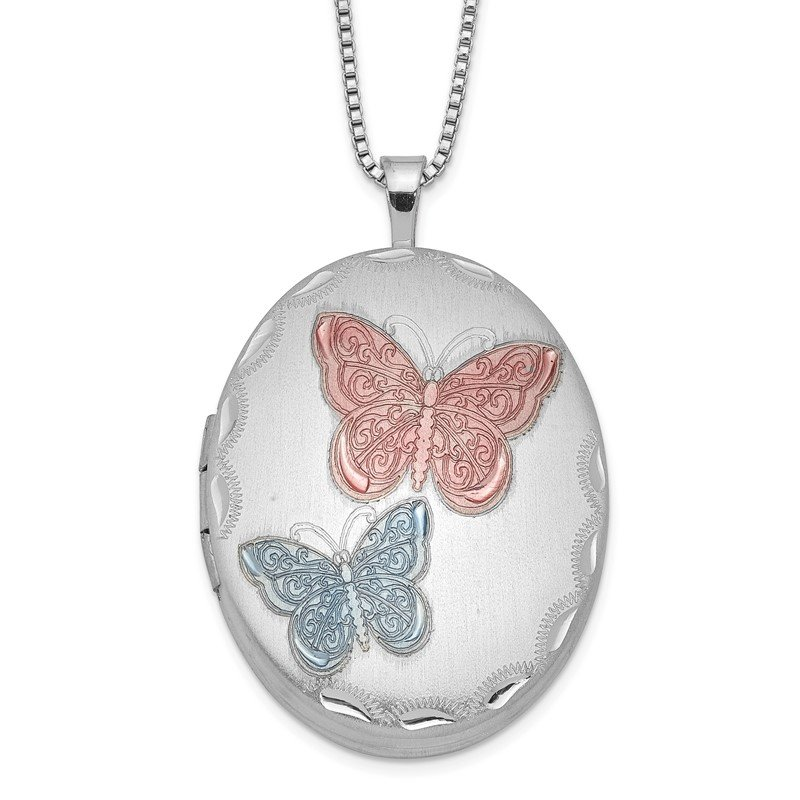 Quality Gold Sterling Silver RH-plated 26mm Enameled Butterfly Oval Locket Necklace