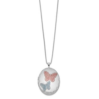 Sterling Silver RH-plated 26mm Enameled Butterfly Oval Locket Necklace