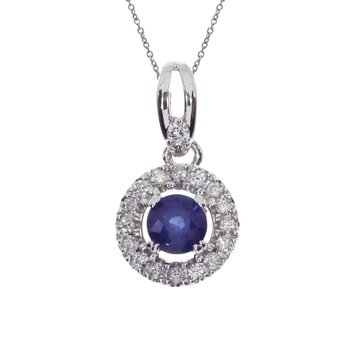 14k White Gold Sapphire and Diamond Halo Pendant