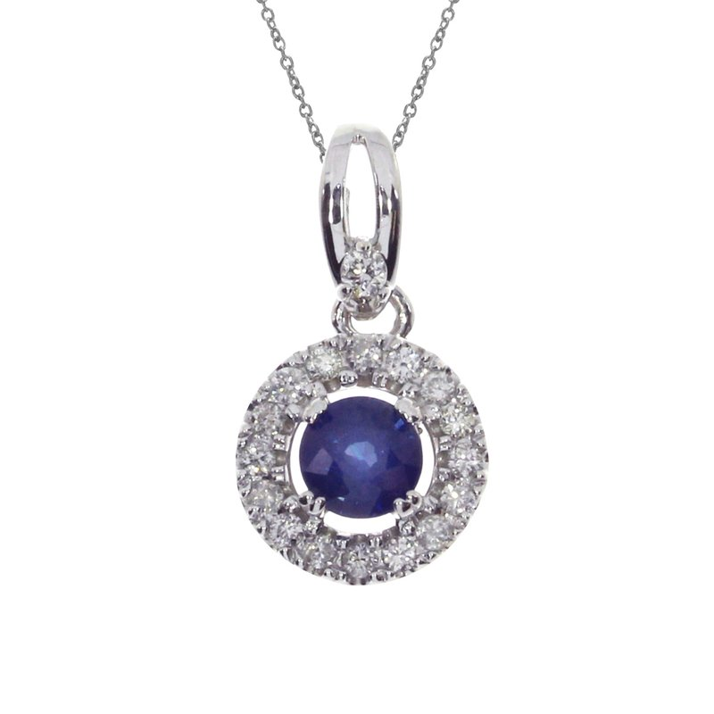 Color Merchants 14k White Gold Sapphire and Diamond Halo Pendant