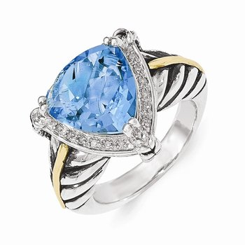 Sterling Silver w/14k Swiss Blue Topaz and Diamond Ring