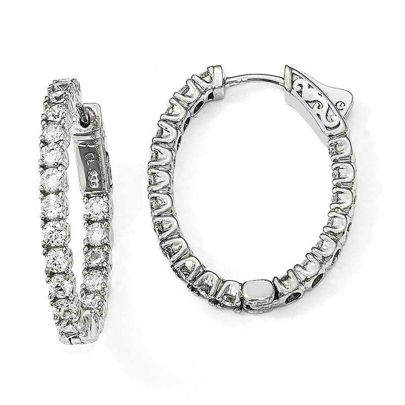 Quality Gold Sterling Silver Rhodium-plated CZ Oval In & Out Hoop Earrings
