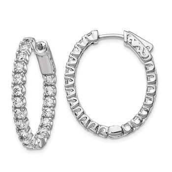 Sterling Silver Rhodium-plated CZ Oval In & Out Hoop Earrings