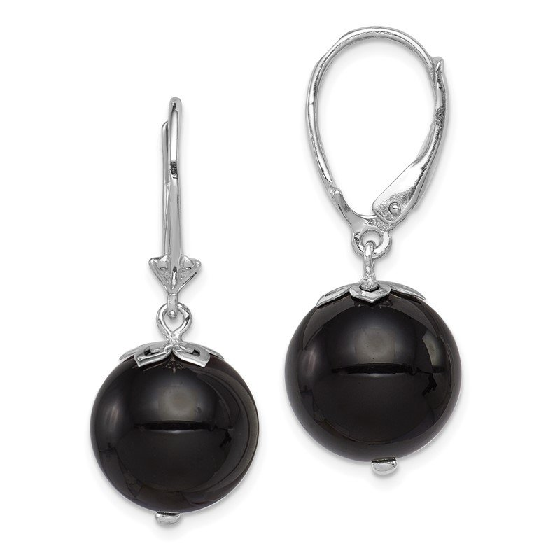 Quality Gold Sterling Silver Rhodium-plated Onyx Leverback Earrings
