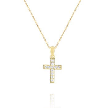 Diamond Cross Pendant Set in 14 Kt. Gold