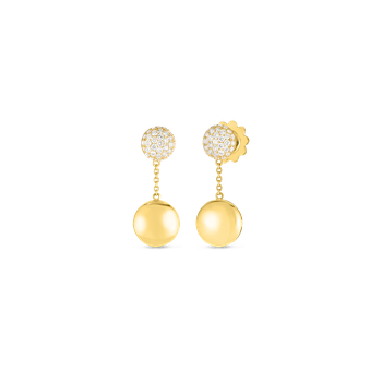 #27370 Of 18Kt Gold Disc Earrings With Diamonds