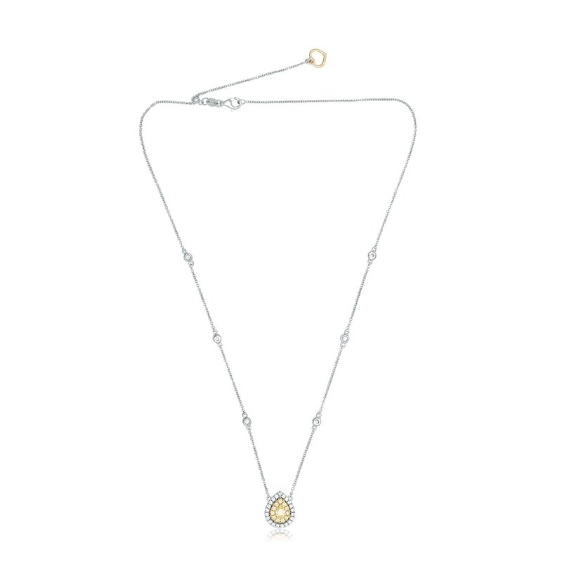 Roman & Jules Two Tone Pear-shaped Diamond Necklace