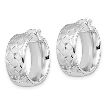 Sterling Silver RH-plated Polished 7.5mm D/C Hoop Earrings