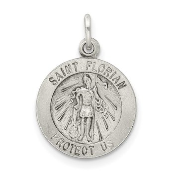 Sterling Silver Antiqued Saint Florian Medal