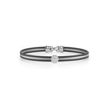 Black & Grey Cable Classic Stackable Bracelet with Single Round Station set in 18kt White Gold
