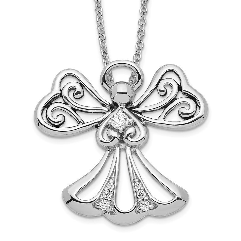 J.F. Kruse Signature Collection Sterling Silver CZ Angel of Kindness 18in Angel Necklace