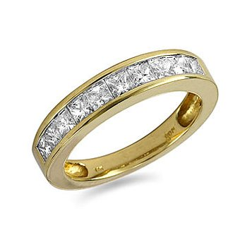18K YG Ring Band Channel Princess
