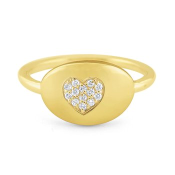 14k Gold and Diamond Heart Signet Ring