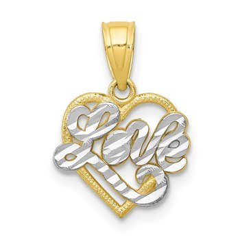 10K w/ Rhodium LOVE Heart Charm
