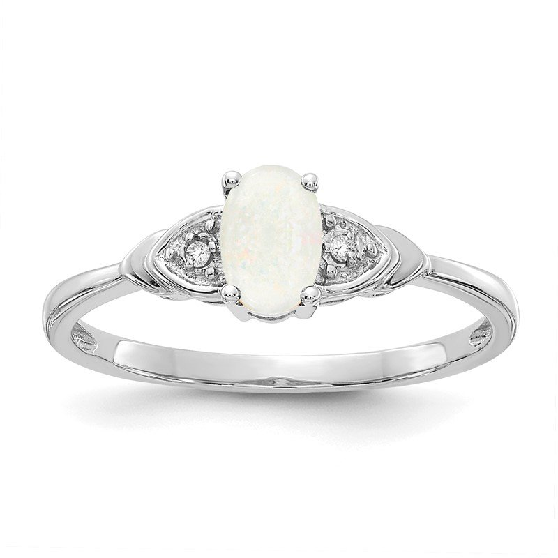 Quality Gold 14k White Gold Opal and Diamond Ring