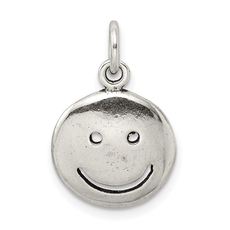 Quality Gold Sterling Silver Antiqued Smiley Face Charm