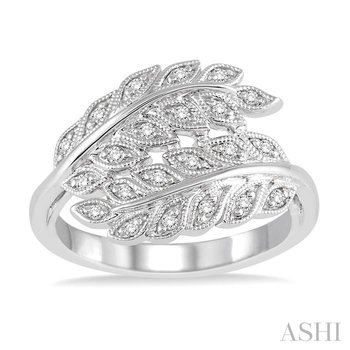 silver leaf diamond ring