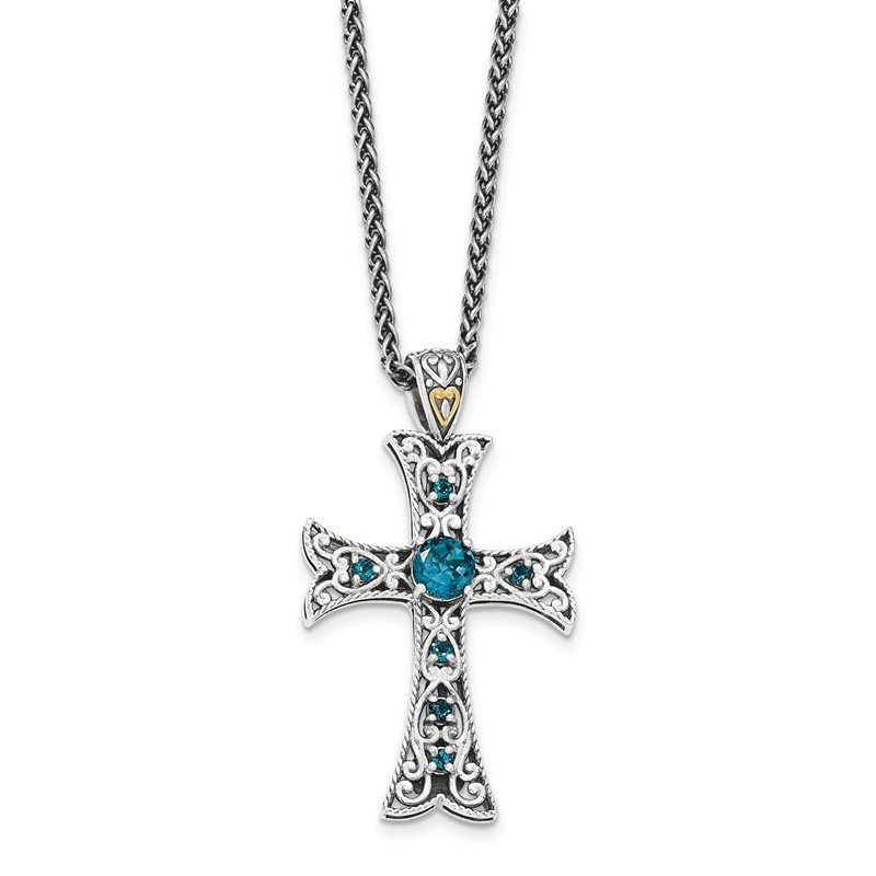 Shey Couture Sterling Silver w/14k London Blue Topaz Cross Necklace