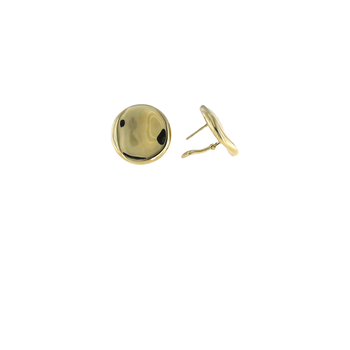 18KT GOLD LARGE BUTTON EARRINGS