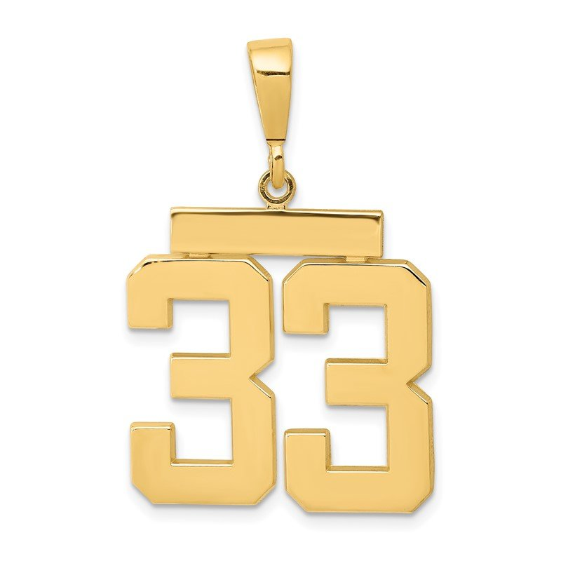 Quality Gold 14k Large Polished Number 33 Charm