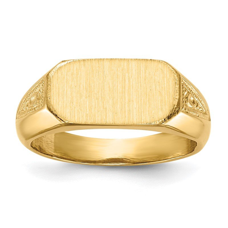 14k 6.0x12.5mm Closed Back Signet Ring