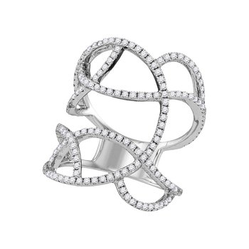 18kt White Gold Womens Round Diamond Openwork Abstract Strand Knuckle Ring 7/8 Cttw