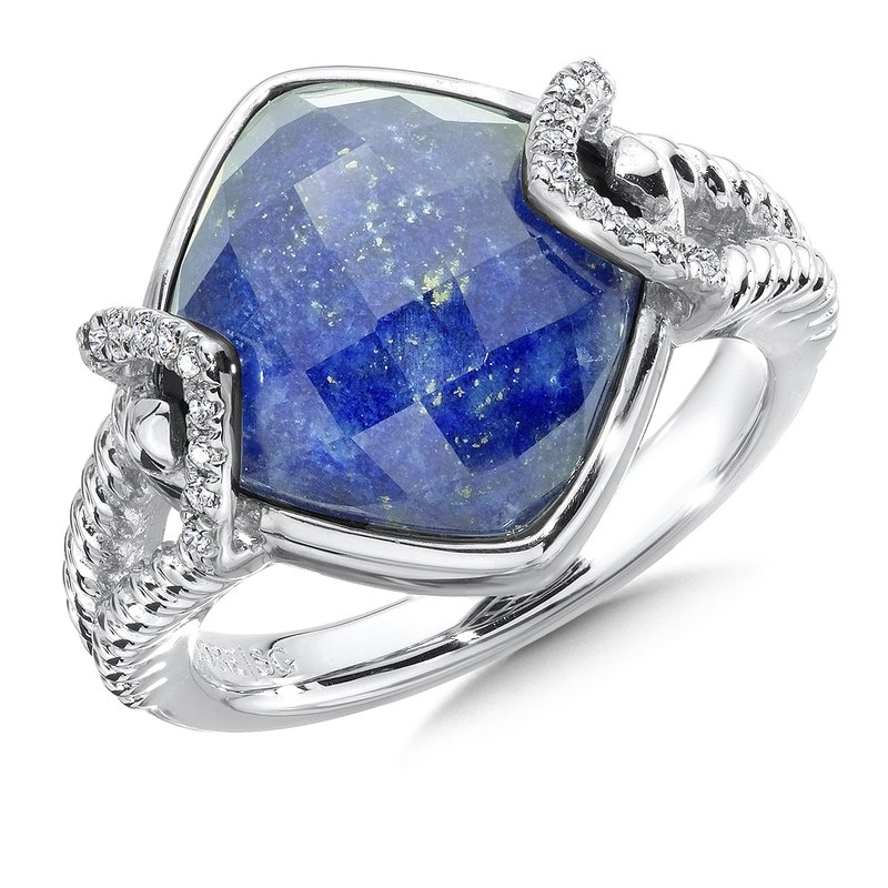 Colore Sg Sterling silver, lapis fusion and diamond ring