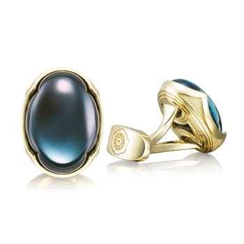 Oval Cabochon Cuff Links featuring Sky Blue Hematite