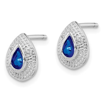 Sterling Silver Rhodium Dark Sapphire & Diamond Post Earrings