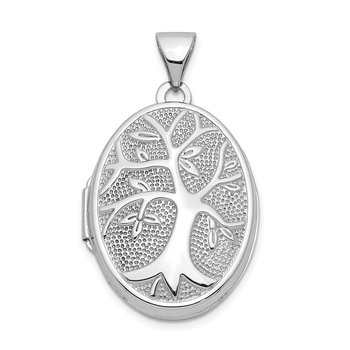 14k White Gold 21x16mm Oval Tree Locket