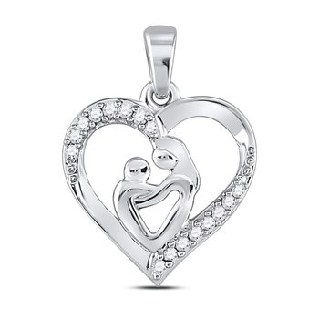 10kt White Gold Womens Round Diamond Mom Mother Child Heart Pendant 1/10 Cttw