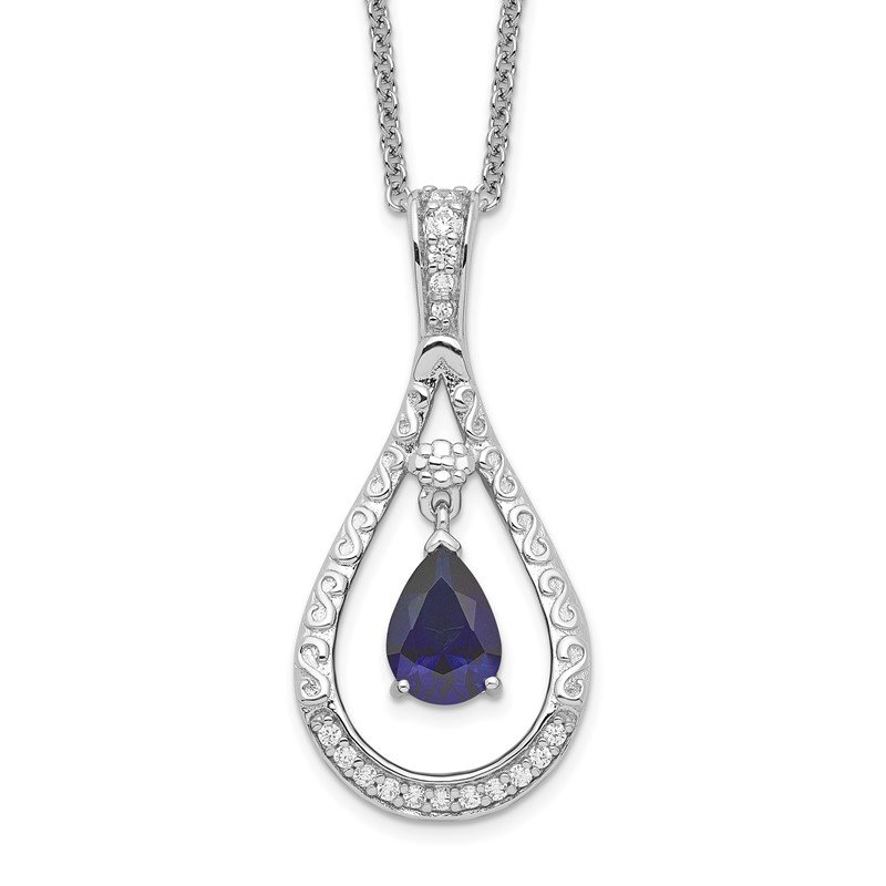 Quality Gold Sterling Silver Sept. Lab-created Sapphire Never Forget Tear 18in Necklace