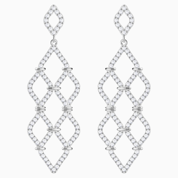 Lace Chandelier Pierced Earrings, White, Rhodium plated