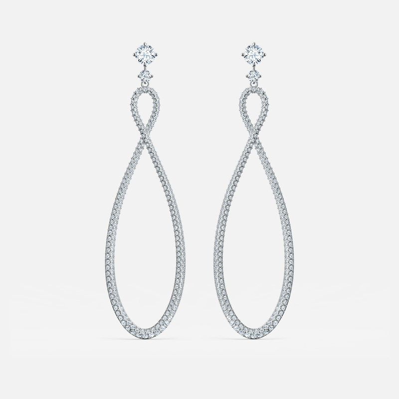 Swarovski Swarovski Infinity Hoop Pierced Earrings, White, Rhodium plated