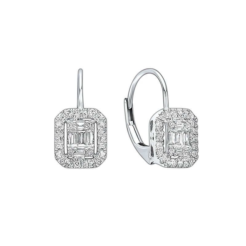 Gems One Diamond Rectangular Halo Earrings in 14k White Gold (1/2ctw)