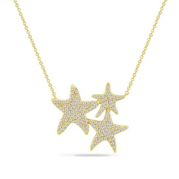 14K TRIPLE STARFISH NECKLACE WITH 131 DIAMONDS 0.57CT ON A 18 INCHES CHAIN, STARFISH 24MM BY 26MM