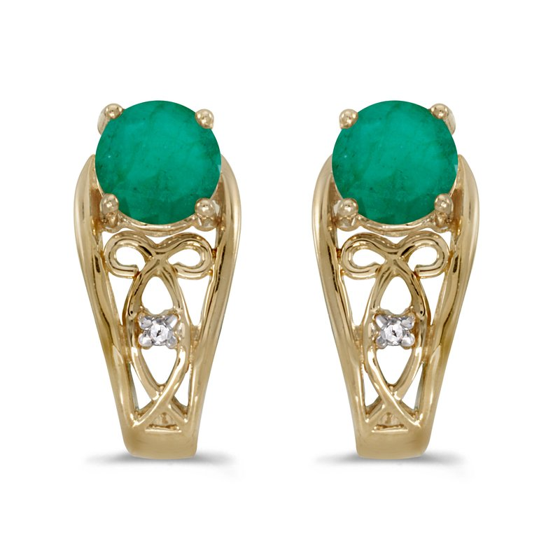 Color Merchants 14k Yellow Gold Round Emerald And Diamond Earrings