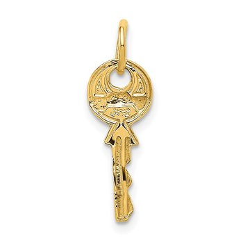 14K Polished 3D Rounded Top Key Charm