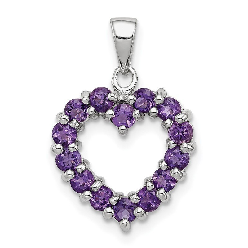 Quality Gold Sterling Silver Rhodium Amethyst Heart Pendant