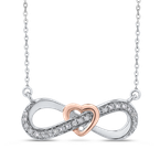 Essentials 10K White & Rose Gold 1/5 Ct Diamond Infinity Pendant with Chain