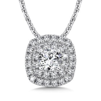 Diamond Double Cushion Halo Pendant with Split Bale in 14K White Gold (1/3ct. tw.)