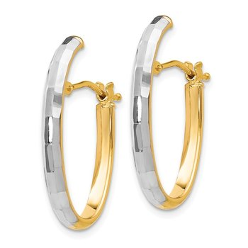Leslie's 14K with Rhodium D/C Hinged Hoop Earrings