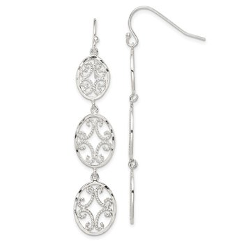 Sterling Silver Diamond Cut Ovals Dangle Earrings