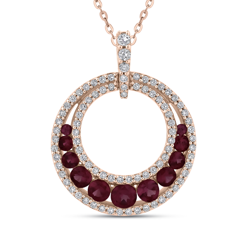 Essentials 10K Rose Gold 1/3 Ct Diamond with 1 Ct Ruby Circle Pendant with Chain