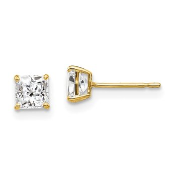 14k 4mm Square CZ Post Earrings