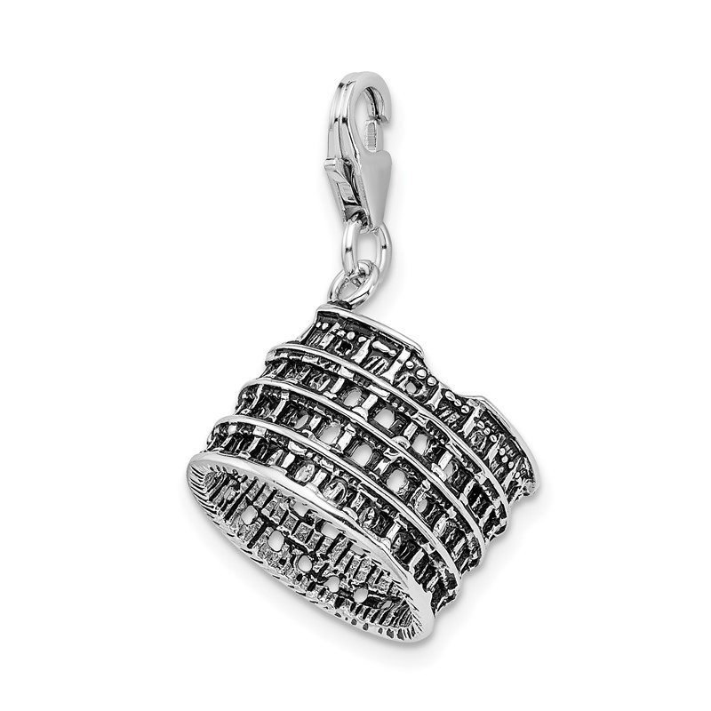 Quality Gold Sterling Silver Amore La Vita Rhodium-pl 3-D Antiqued Coliseum Charm