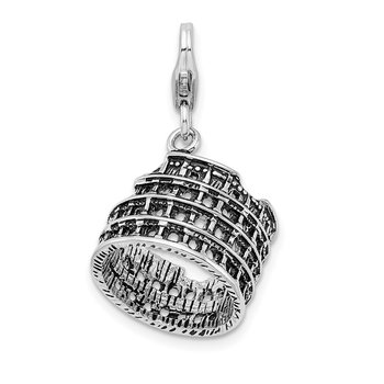 Sterling Silver 3-D Antiqued Coliseum w/Lobster Clasp Charm